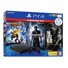 Sony PlayStation 4 Slim Black 1TB & Playstation Hits Rachet&Clank & The Last of Us Remastered & Uncharted 4