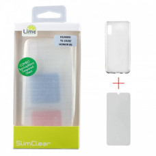 Lime Back Cover Σιλικόνης Διάφανο + Tempered Glass (Huawei Y5 2019)